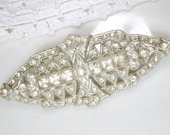 Antique 1930s Wedding Dress Sash Brooch, Bridal Hair Clip, Hair Comb OR Barrette, Vintage Art Deco Pave Rhinestone Silver Gatsby Accessory