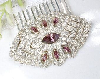 Amethyst Purple HAIR COMB/Bridal Sash Brooch/Clip, 1930s Art Deco Burgundy Rhinestone Pin/OOAK Pave Silver Wedding Headpiece Gatsby Antique