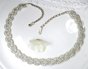 Vintage Pave Crystal Rhinestone Necklace, Silver Link Bridal Necklace, Old Hollywood Glamour Wedding Jewelry Statement Choker Art Deco Glam