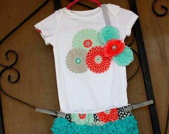 Flower bloomers and onesie set