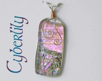 Silver Pink Dichroic Glass Pendant with Sterling Silver Wire Wrap and Rose Gold Accent - Cyberlily