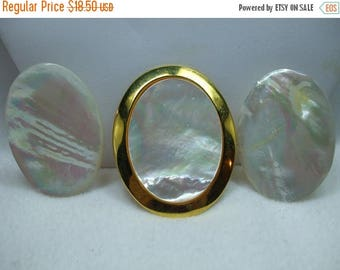 SALE 50% OFF Vintage Gorgeous Mother of Pearl Demi Set Pierced Earrings and Dress Clip
