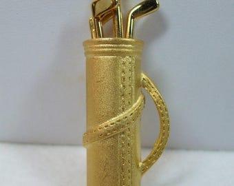 SALE 50% OFF Vintage Goldtone Golf Bag Figural brooch