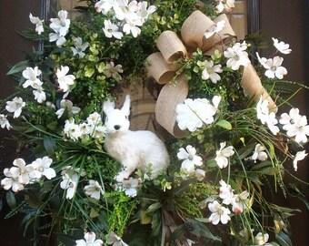 Dogwood Wreath, Easter Wreath, Easter Bunny Wreath, White Easter Wreath, Spring Wreath, Easter Decor