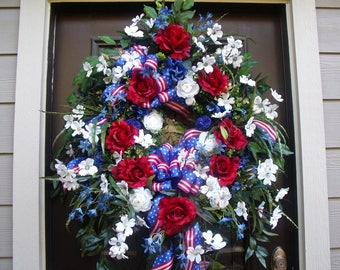 Patriotic Wreath, Patriotic Door Wreath, 4th of July Wreath, XL Wreath , July 4th Wreath, 4th of July Decorations, Wreaths for big doors