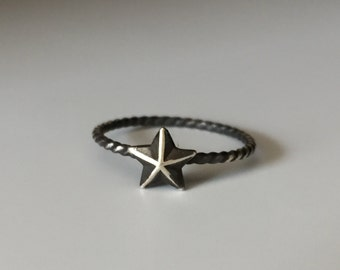 Nautical Star Stacking Ring. Sterling silver stacker jewelry mix and match. Superstar ring.