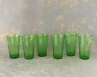 Vintage Green Depression Drinking Glasses, Tumbler, Tall, set, six