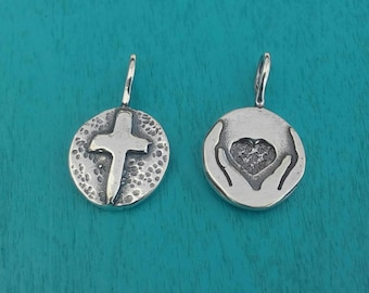 My Heart Is In The Hands Of God - Double Sided Sterling Silver Charm Or Charm Necklace