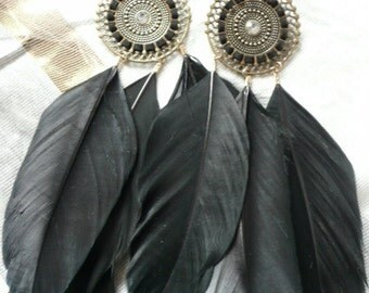 Earrings made with feathers