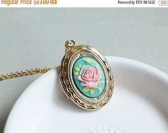 Holiday Sale Gold Rose Cameo Locket Necklace. vintage style rose cameo oval locket. new collection. gift for her. sister friendship locket.