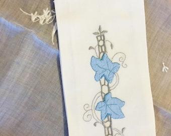 Vintage Embroidered Fingertip Towel Blue White Linen Leaves Napkin