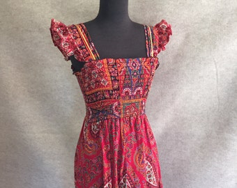 Vintage 70's Sundress, Red Paisley Prairie Style, Sleeveless, Midi Length, Gypsy, Boho, Small