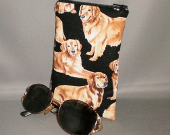 Eyeglass or Sunglasses Case - Padded Zippered Pouch - Golden Retriever - Dogs