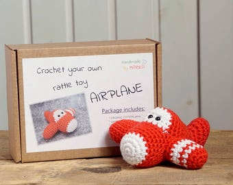 Airplane crochet kit - toy airplane DIY kit - crochet your own rattle - amigurumi kit - gift for crocheter - organic cotton - red and white