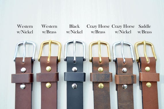Handcrafted Leather Men's, Women's, or Youth Belt - Choose from multiple leather and hardware options. Product of the USA