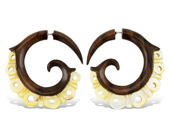 Wood and Shell Golden Crowns - Tribalstyle Fake Gauges