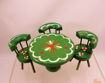 Dollhouse Table Chairs Miniature Furniture Green w Painted Flowers Christmas Decor
