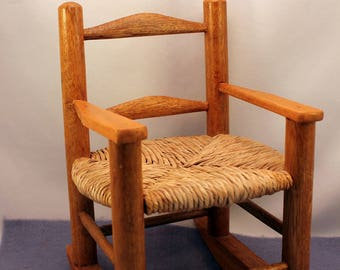 Rocking Chair For Doll Teddy Bear Wood Toy Furniture Display Vintage
