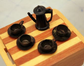 Miniature Coffee Pot 4 Cups & Saucers Set Tiny Dollhouse Dishes Black Plastic