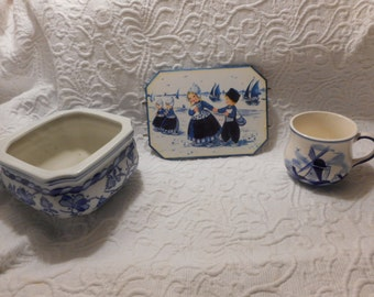 Vintage Delft Cup, Picture and Planter Blue and White