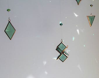 Beveled Stained Glass Geometric Mobile Green Glass Crystal and Copper Hanging Mobile