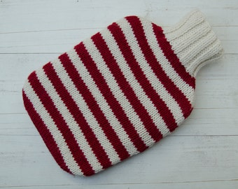 Hot water bottle Cover Knitted in red and white stripes