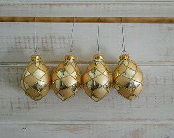 Gold Glass Ball Ornaments - By C & D - Pinecone Shape