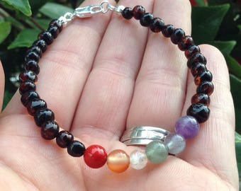 Baltic Amber & Rainbow Gemstone bracelet - chakra support - natural pain relief - 8 inches long