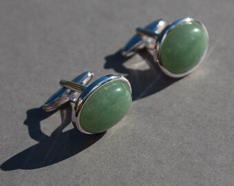 Jade cufflinks, pale green gemstone cuff links