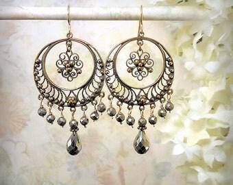 Gypsy Moon Earrings Gold Hoop Earrings Earthy Gypsy Earrings Crescent Moon Pyrite Earrings Cosmic Earrings Tribal Bellydance Earrings Bronze