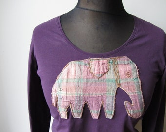 Purple Elephant T Shirt, Upcycled Tshirt, Elephant Tee, Boho T Shirt, Safari Tshirt, Animal T-Shirt, Long Sleeve T Shirt, Elephant Applique