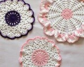 RESERVED FOR TRACY Ruffled Crochet Lace Doilies, Country Chic Table Accessories, Modern Home Decor