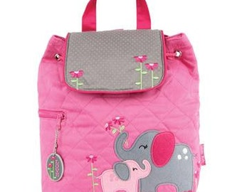 Personalized Stephen Joseph Backpack Quilted Elephant Pink Diaper Bag Gray