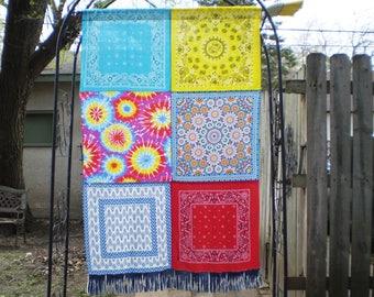 Hippie Bandana Curtain, Hippie Curtain, Hippie Curtain Panel, Boho Curtain, Bohemian Curtain,  Colorful Hippie Curtain