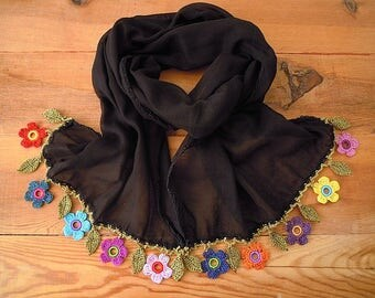 black cotton scarf with colorful crochet flower trim
