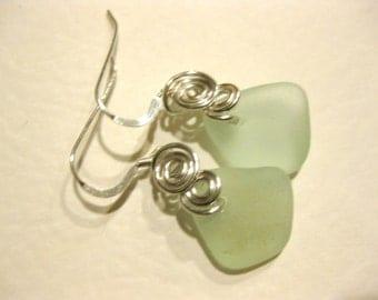 wired sea glass earrings  beach earring silverplated jewelry SS dangle earrings