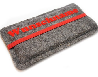 Cellphone felt with compose and rubber band - red, made to measure suitable for your mobile phone