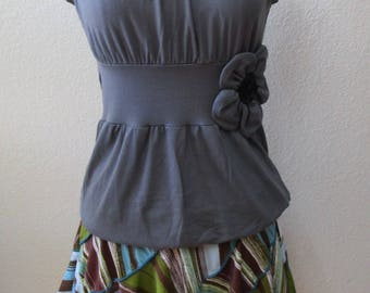 Gray color tank top with rose decoration and gathered design in the front plus made in USA (v86)