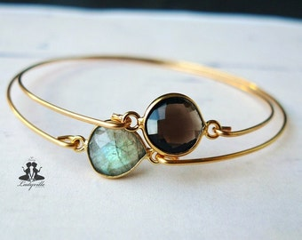 2 bangles set - Labradorite and smoky quartz bezel