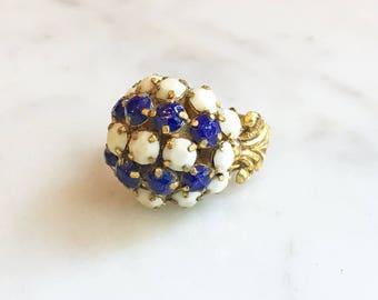 Vintage 50s 60s Milk Glass Lapis Rhinestone Ring Tall Cluster Vintage Jewelry