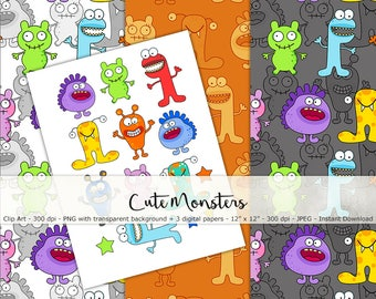 Cute Monsters Paper Set and Clip Art - Digital and Printable