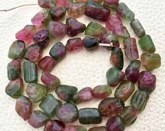 Rare Natural Watermelon TOURMALINE Smooth NUGGETS Briolettes,10-12mm Size,Full 8 inch Strand,VERY Very Rare