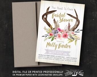 Rustic Bridal Shower Invitation | Boho Bridal Shower | Printed Invitation | Printable Digital File | Deer Bridal Shower | Gold Glitter