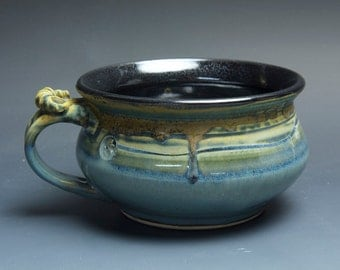 Sale - Handmade pottery soup mug ceramic chili mug medium blue cereal cup 22 oz 3666