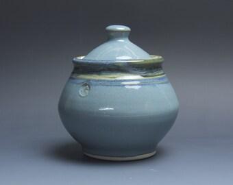 Handmade pottery sugar bowl storage jar tea caddy 3784a