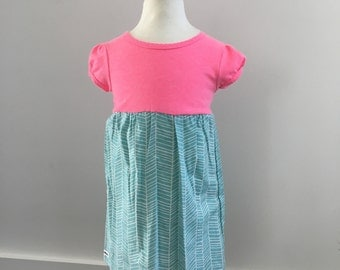 Toddler t-shirt Dress: 2T Girl's t-shirt dress, Pink and aqua herringbone, Ready to ship