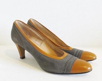 ON SALE NOW Vintage 1970's Suede Leather Pumps / Ladies Size 8 Tone Brown Heels