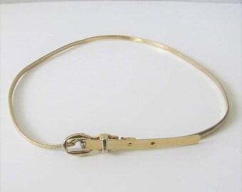 40% OFF SALE Vintage 1980's Metal Golden Belt / Gold Stretchy Skinny Retro Chain Buckle Rockabilly Belt