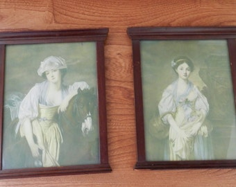 Framed French Lady Prints - Set of Two - Antique Mahogany Framed Prints - Victorian Style Prints