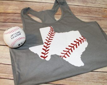 Girls State Baseball Tank, State Shirt, Texas Baseball Tank, Girls Baseball Shirt, Texas Shirt, Baseball State Shirt, Available in any state
